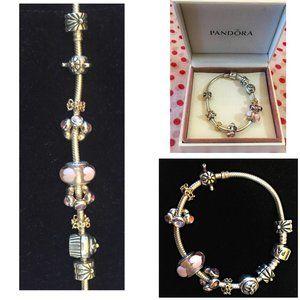 Pandora Moments 7inch Bracelet & 9 Charms
